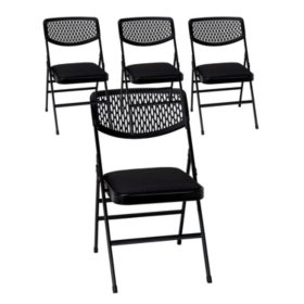 Cosco Commercial Padded Seat Folding Chair with Mesh Back, Black (4-pack)