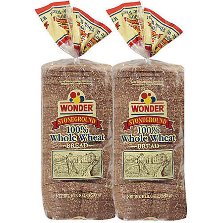 Wonder® Stoneground 100% Whole Wheat - 24 oz. - 2 pk.