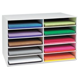 Pacon - Classroom Construction Paper Storage, 10 Slots -  26 7/8 x 16 7/8 x 18 1/2