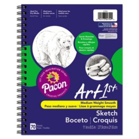 Pacon Art1st Sketch Diary, 60 lb, 11 x 8.5, White, 70 Sheets