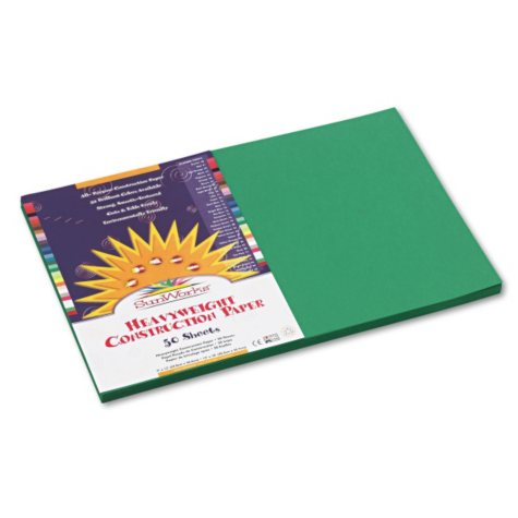 Pacon - Construction Paper, 58 lbs., 12 x 18, Holiday Green, 50 Sheets per Pack