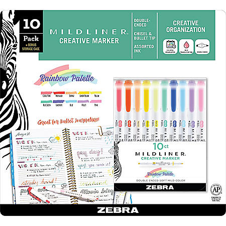 Mildliner Double-ended Creative Marker Assorted, 10 Packs (Choose a Color)