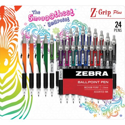 Zebra Z-Grip Plus Retractable Ballpoint Pen, 1.0mm, Medium Point, Assorted Ink Colors, 24pk.