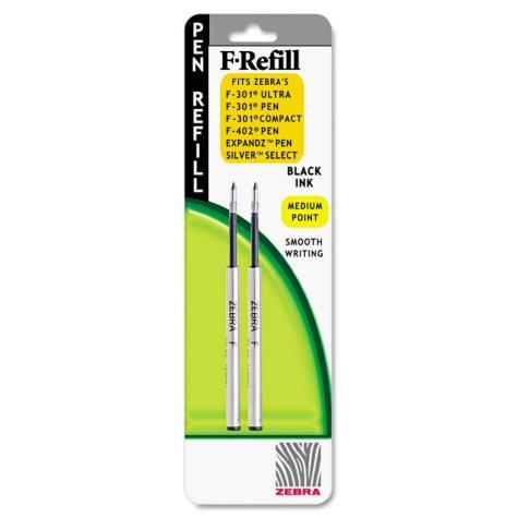 Zebra - Refill for F-301, F-301 Ultra, F-402, 301A, Spiral Ballpoint, Med, Black - 2 ct.