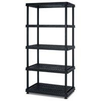 Keter 5-Tier 24? W x 36? L x 72? H Freestanding Ventilated Resin Shelving Unit, Black Plastic Storage Rack