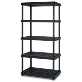 "Keter 5-Tier 24"" W x 36"" L x 72"" H Freestanding Ventilated Resin Shelving Unit, Black Plastic Storage Rack"