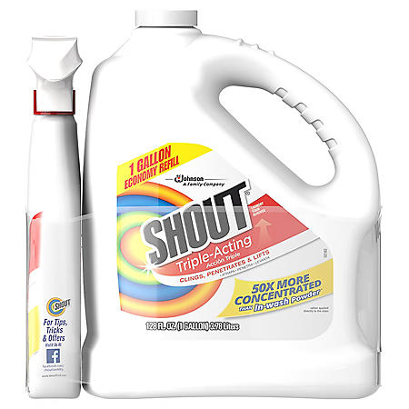 Shout Triple-Acting Liquid Refill (128 oz.) + Shout Trigger Triple-Acting Stain Remover (22 oz.)