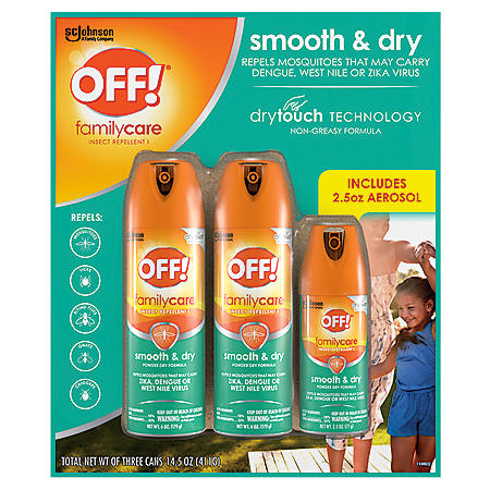 OFF! Family Care Insect Repellent, Smooth & Dry Travel Aerosol Sprays, 6 oz. + 2.5 oz.