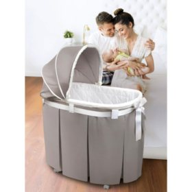 Badger Basket Wishes Oval Bassinet, Full Length Skirt (Choose Your Color)