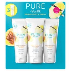PURE by Venus Shaving Cream, Manuka Honey and Vanilla  (6 oz., 3 pk.)