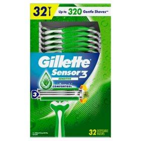 Gillette Sensor3 Sensitive Men's Disposable Razor (32 ct.)