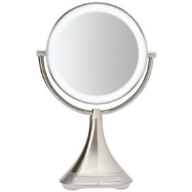 """iHome Portable Double-Sided 9"""" Vanity Mirror with Bluetooth Speaker"""
