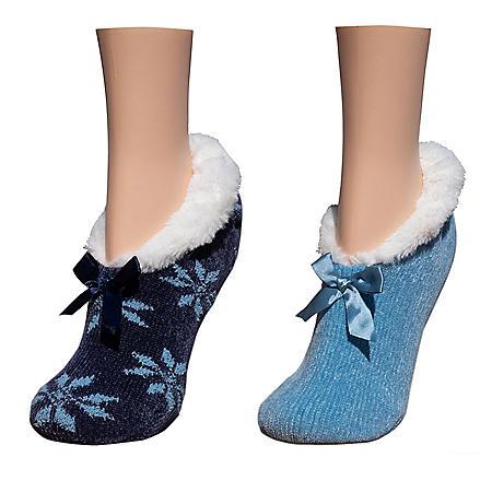 Cuddl Duds Chenille Faux Fur Lined Ballerina Slipper Socks (2 Pack)