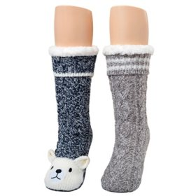 Cuddl Duds Women's Sherpa-Lined Critter Sock, 2-Pair Pack