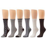 Cuddl Duds Ladies Super Soft Crew Sock  6 pack