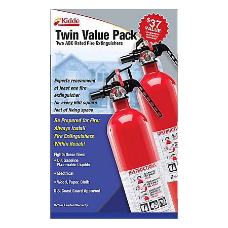 Kidde Twin Pack Fire Extinguisher Rated 1a10bc Sam S Club