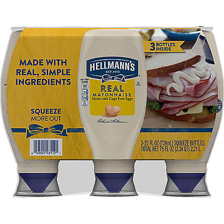 Hellmann's Real Mayonnaise (25 oz., 3 pk.)