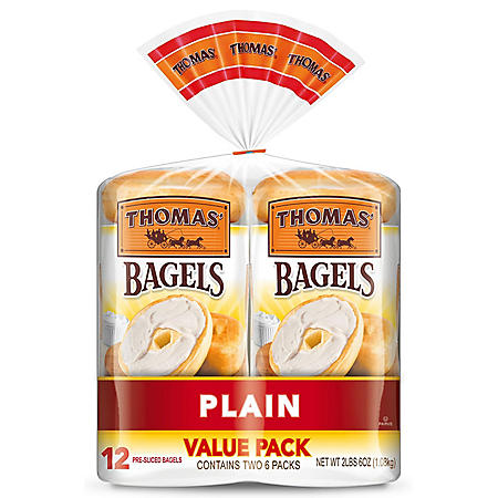 Thomas' Plain Soft and Chewy Bagels (19oz / 2pk)
