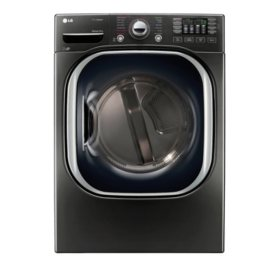 LG - 7.4 cu. ft. Ultra-Large Capacity TurboSteam Electric Dryer - DLEX4370K Black Stainless Steel