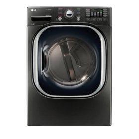 LG - 7.4 cu. ft. Ultra-Large Capacity TurboSteam Gas Dryer - DLGX4371K Black Stainless Steel