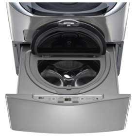 LG - 1.0 cu. ft. SideKick Pedestal Washer, LG TWIN Wash Compatible - WD100CV Graphite Steel
