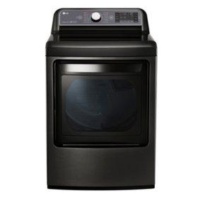LG - 7.3 cu. ft. Ultra-Large Capacity TurboSteam Gas Dryer with LG EasyLoad Door - DLGX7601KE Black Stainless Steel