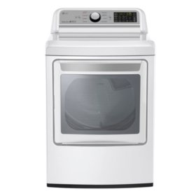LG - 7.3 Cu. Ft. EasyLoad Door Electric Dryer, White