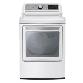 LG - 7.3 Cu. Ft. EasyLoad Door Electric Dryer, White