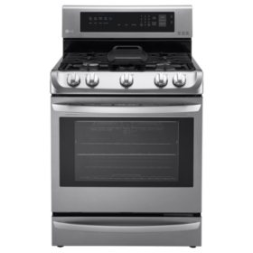LG - 6.3 cu. ft. Gas Single-Oven Range with ProBake Convection, EasyClean and Warming Drawer - LRG4115ST Stainless-Steel