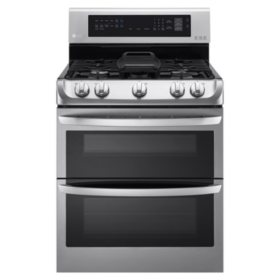 LG - 6.9 cu. ft. Gas Double-Oven Range with ProBake Convection, EasyClean and Gliding Rack - LDG4315ST Stainless-Steel