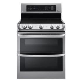 LG - 7.3 cu. ft. Electric Double-Oven Range with ProBake Convection, EasyClean and Infrared Grill System LDE4415ST Stainless-Steel