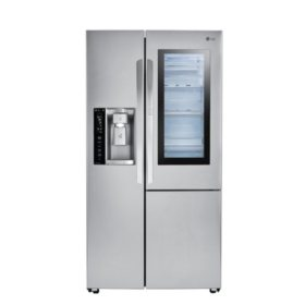 LG - LSXC22396S - 22 cu ft InstaView Door-in-Door Side-By-Side Counter-Depth Refrigerator - Stainless Steel