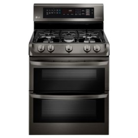 LG - LDG4315BD - 6.9 cu. ft. Gas Double Oven Range with ProBake Convection, EasyClean, and Gliding Rack, Black Stainless Steel