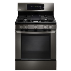 LG - 5.4 cu. ft. Single-Oven Gas Range with EasyClean - LRG3061BD Black Stainless Steel