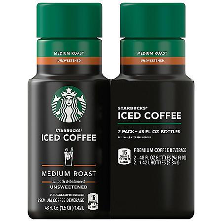 Starbucks Unsweetened Iced Coffee, Medium Roast (48 fl. oz., 2 pk.)