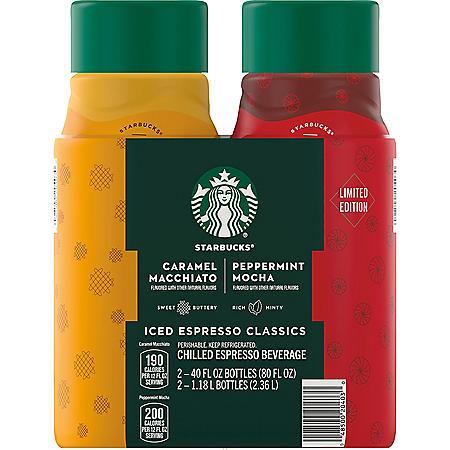 Starbucks Peppermint Mocha and Caramel Macchiato Holiday Variety Pack (40 fl. oz., 2 pk.)