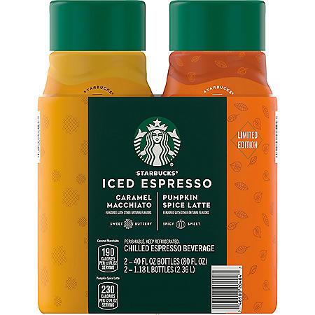 Starbucks Pumpkin Spice and Caramel Macchiato Holiday Variety Pack (40 fl. oz., 2 pk.)
