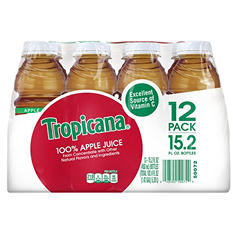 Tropicana 100% Juice, Apple Juice (15.2 oz. bottles, 12 pk.)