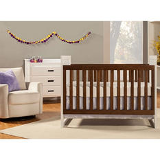 Baby Mod Modena Mod Two-Tone 3-in-1 Convertible Crib, White and Walnut