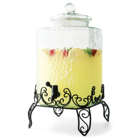 Pebbled Glass Beverage Dispenser