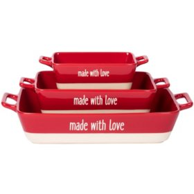 """Made With Love"" 3-Piece Rectangular Red Baker Set"