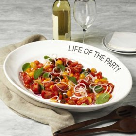 """""""Life of the Party"""" White Oval Platter, 21"""""""