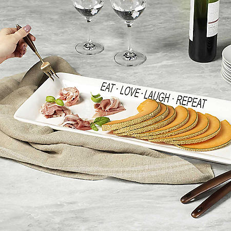 """Eat Love Laugh Repeat"" White Rectangular Platter, 21"""