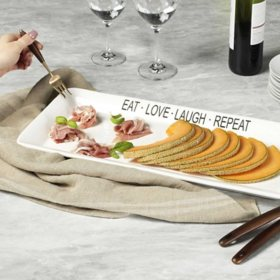 """Eat Love Laugh Repeat"" White Rectangular Platter, 21"""