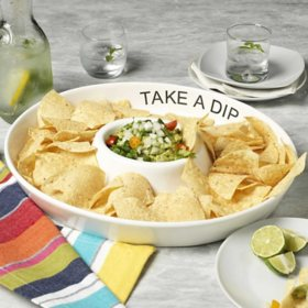"""""""Take a Dip"""" White Oval Chip and Dip Platter, 16.5"""""""