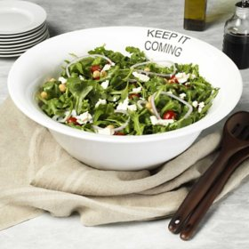 """Keep It Coming"" White Ceramic Serving Bowl, 15"""