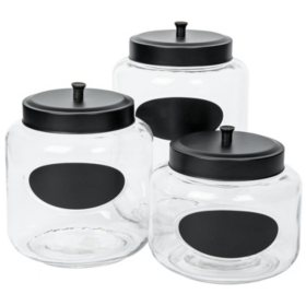 Mason Clear Glass Canisters with Chalk Panels, Set of 3