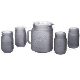 Mason 5-Piece Pitcher and Drinkware Set (Assorted Colors)