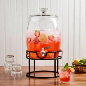 Mason Craft & More Glass Belly Drink Dispenser with Stainless Steel Spigot and Iron Metal Stand, 2.75 Gallon