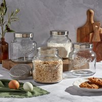 Mason Craft & More 4-Piece European Glass Canisters with Metal Lids